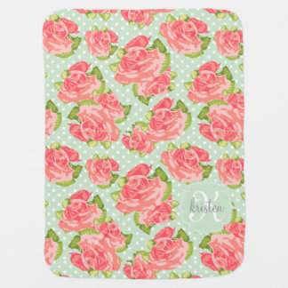 Elegant Retro Floral Pink Mint Girly Personalized Baby Blanket