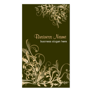 Elegant Retro Gold Flower Swirls 2 Double-Sided Standard Business Cards (Pack Of 100)