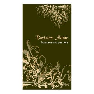 Elegant Retro Gold Flower Swirls 2 Business Card Template