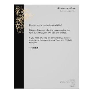 Elegant Retro Gold Flower Swirls Black 21.5 Cm X 28 Cm Flyer