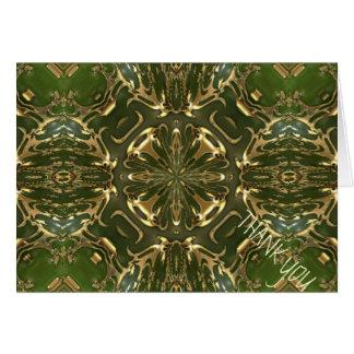 Elegant Retro Green And Gold Kaleidoscope Greeting Card
