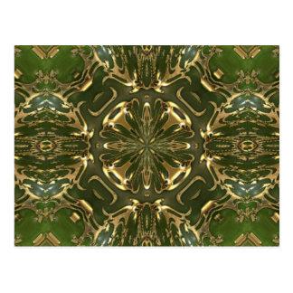 Elegant Retro Green And Gold Kaleidoscope Postcard