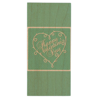 Elegant retro mint green Valentines day design Wood USB 2.0 Flash Drive