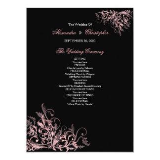 Elegant Retro Pink Flower Swirl Wedding Program 17 Cm X 22 Cm Invitation Card