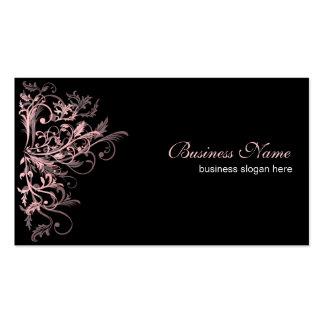 Elegant Retro Pink Flower Swirls Pack Of Standard Business Cards