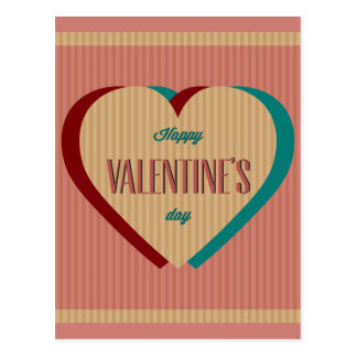 Elegant retro style Happy Valentines day design Postcard