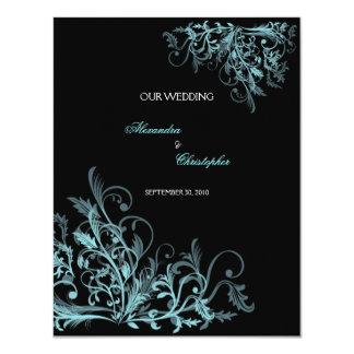Elegant Retro Turquoise Flower Swirl Wedding 11 Cm X 14 Cm Invitation Card