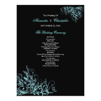 Elegant Retro Turquoise Flower Swirl Wedding Progr 17 Cm X 22 Cm Invitation Card