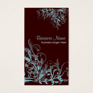 Elegant Retro Turquoise Flower Swirls 3 Business Card