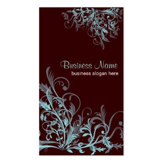 Elegant Retro Turquoise Flower Swirls 3 Pack Of Standard Business Cards