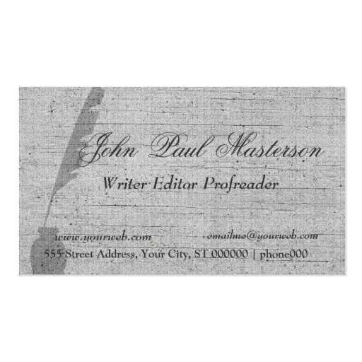 Elegant Retro Vintage Feather Quill Writer Pack Of Standard Business Cards