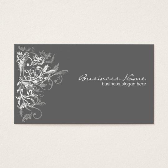 Elegant Retro White Flower Swirls Dark Grey Business Card
