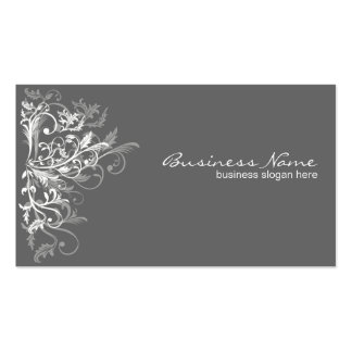 Elegant Retro White Flower Swirls Dark Grey Pack Of Standard Business Cards