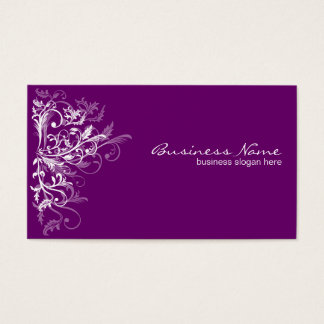 Elegant Retro White Flower Swirls Plum Business Card