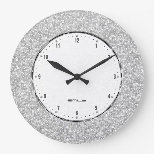 Elegant Retro White Glitter And Sparkles Large Clock