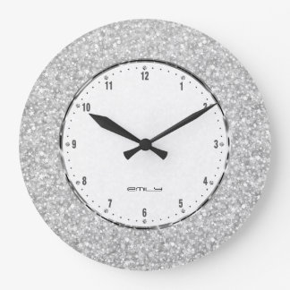 Elegant Retro White Glitter And Sparkles Wall Clocks