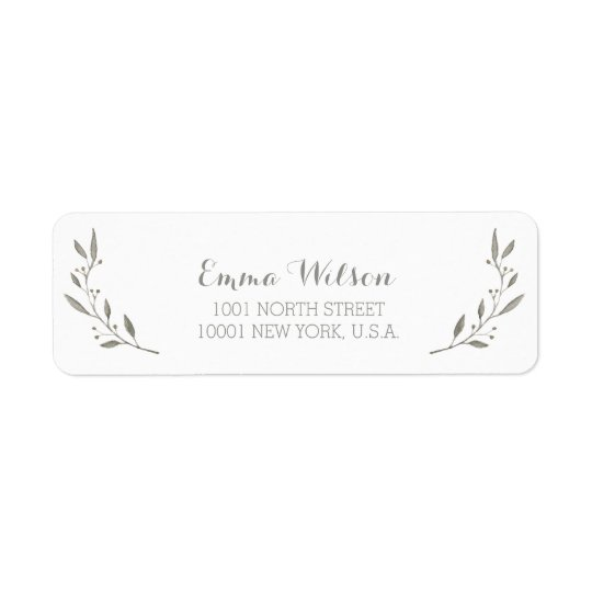 Elegant Return Address Labels Grey Floral