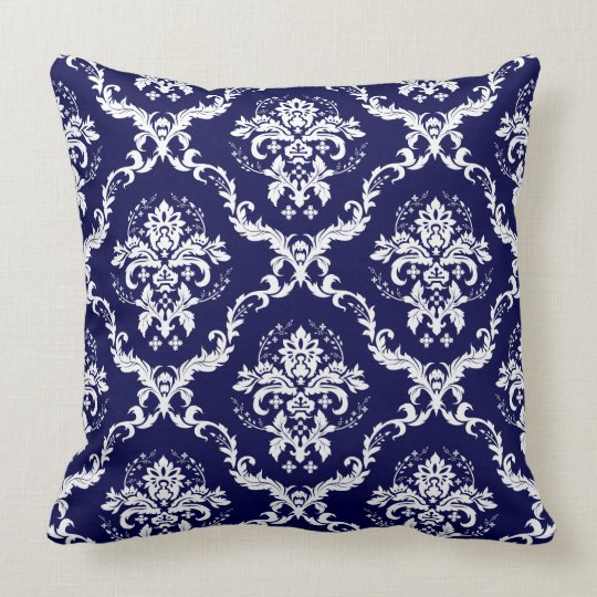 Elegant Reversible Navy Blue & White Floral Damask