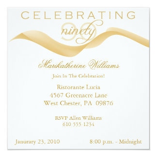 Elegant Ribbon 90th Birthday Party Invitations