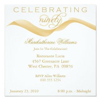 Elegant Ribbon 90th Birthday Party Invitations