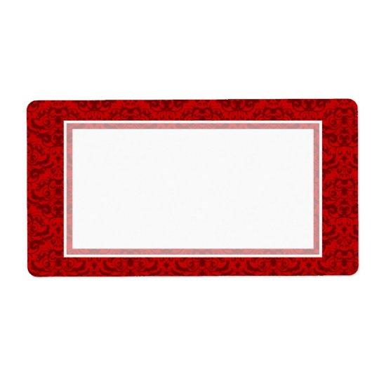 Elegant Rich Red Damask Custom Colour Background Shipping Label