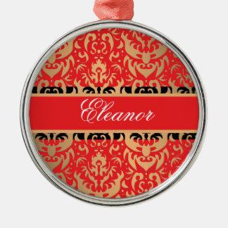 Elegant Rich Red Damask Shimmering Glamor Silver-Colored Round Decoration