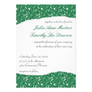 Elegant Ripped Floral Wedding Invitation - Green