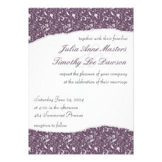 Elegant Ripped Floral Wedding Invitation - Purple