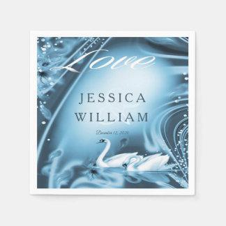 Elegant Romantic Blue Swan Love Wedding Custom Disposable Napkins