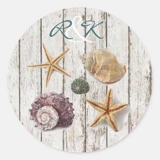 elegant romantic cottage seashells beach wedding stickers