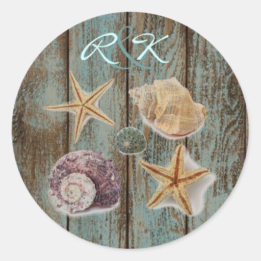 elegant romantic cottage seashells beach wedding sticker