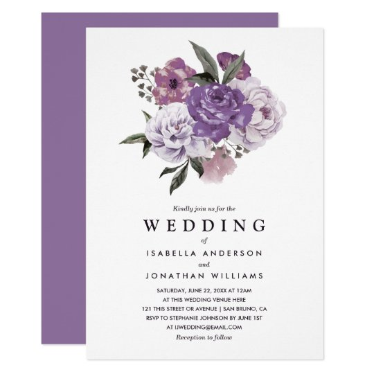 Elegant Romantic Floral Watercolor Spring Wedding Card