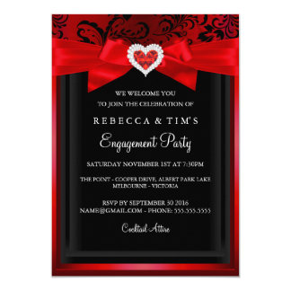 Elegant Romantic Heart Engagement Party Invitation