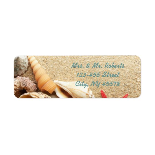 elegant romantic sand seashells beach wedding return address label