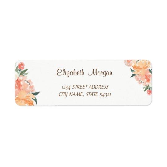 Elegant Romantic, WatercolorFlowers  Address Label