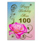 Elegant rose 100th birthday card for Mum