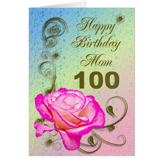 Elegant rose 100th birthday card for Mum