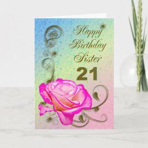 Elegant Rose 21st Birthday Card For Sister
