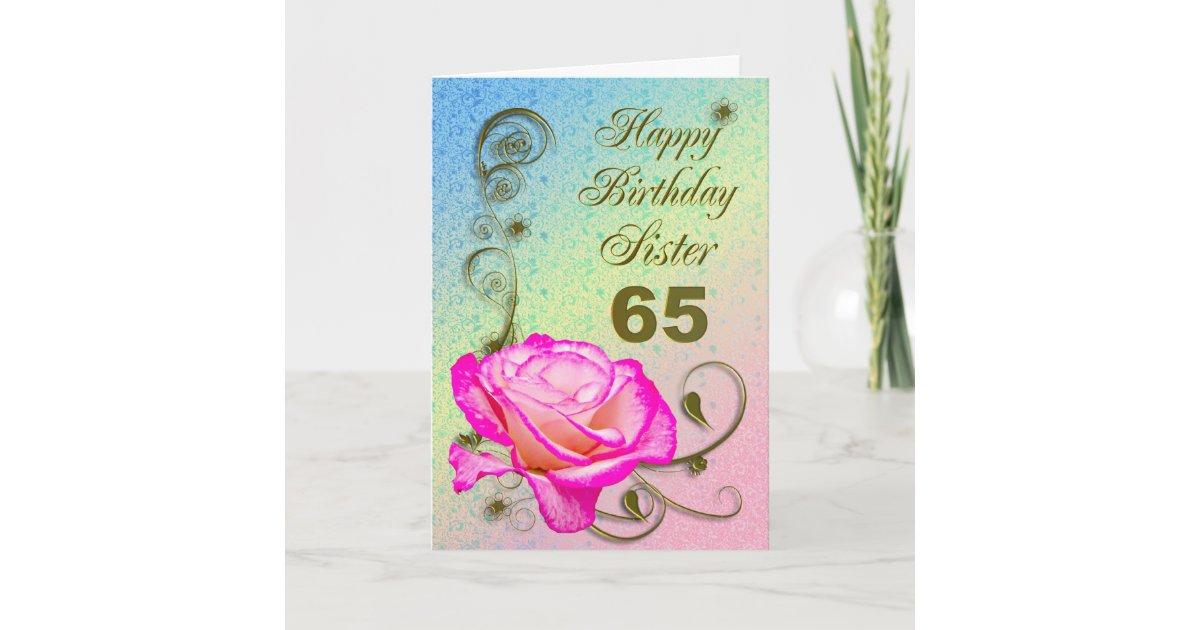 Elegant Rose 65th Birthday Card For Sister