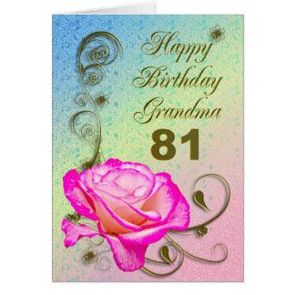 Elegant rose 81st birthday card for Grandma