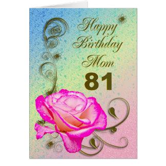 Elegant rose 81st birthday card for Mom