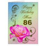 Elegant rose 86th birthday card for Mum