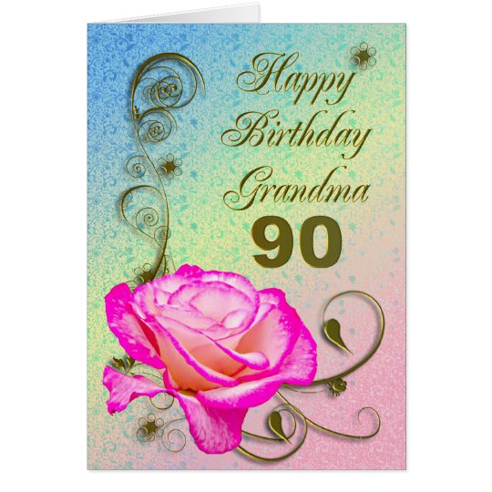 Elegant rose 90th birthday card for Grandma