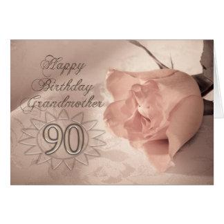 Elegant rose 90th birthday card for Grandmother