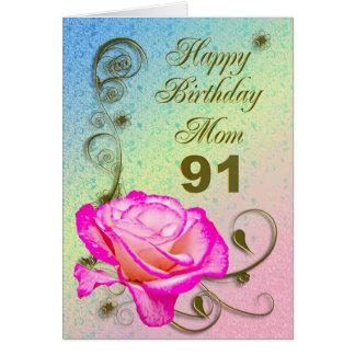Elegant rose 91st birthday card for Mom