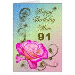 Elegant rose 91st birthday card for Mum