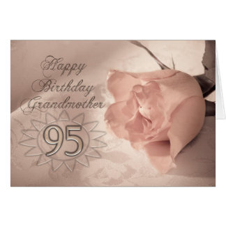 Elegant rose 95th birthday card for Grandmother