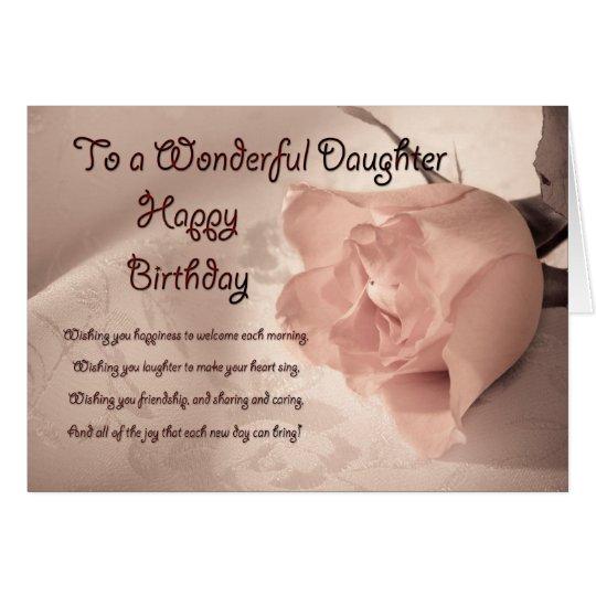 Elegant rose birthday card for daughter