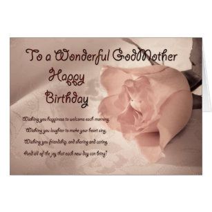 Godmother birthday cards invitations zazzle elegant rose birthday card for godmother bookmarktalkfo Gallery