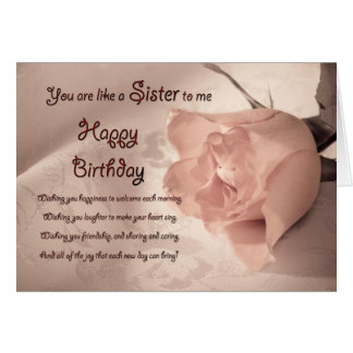 Elegant rose birthday card for like a sister to me